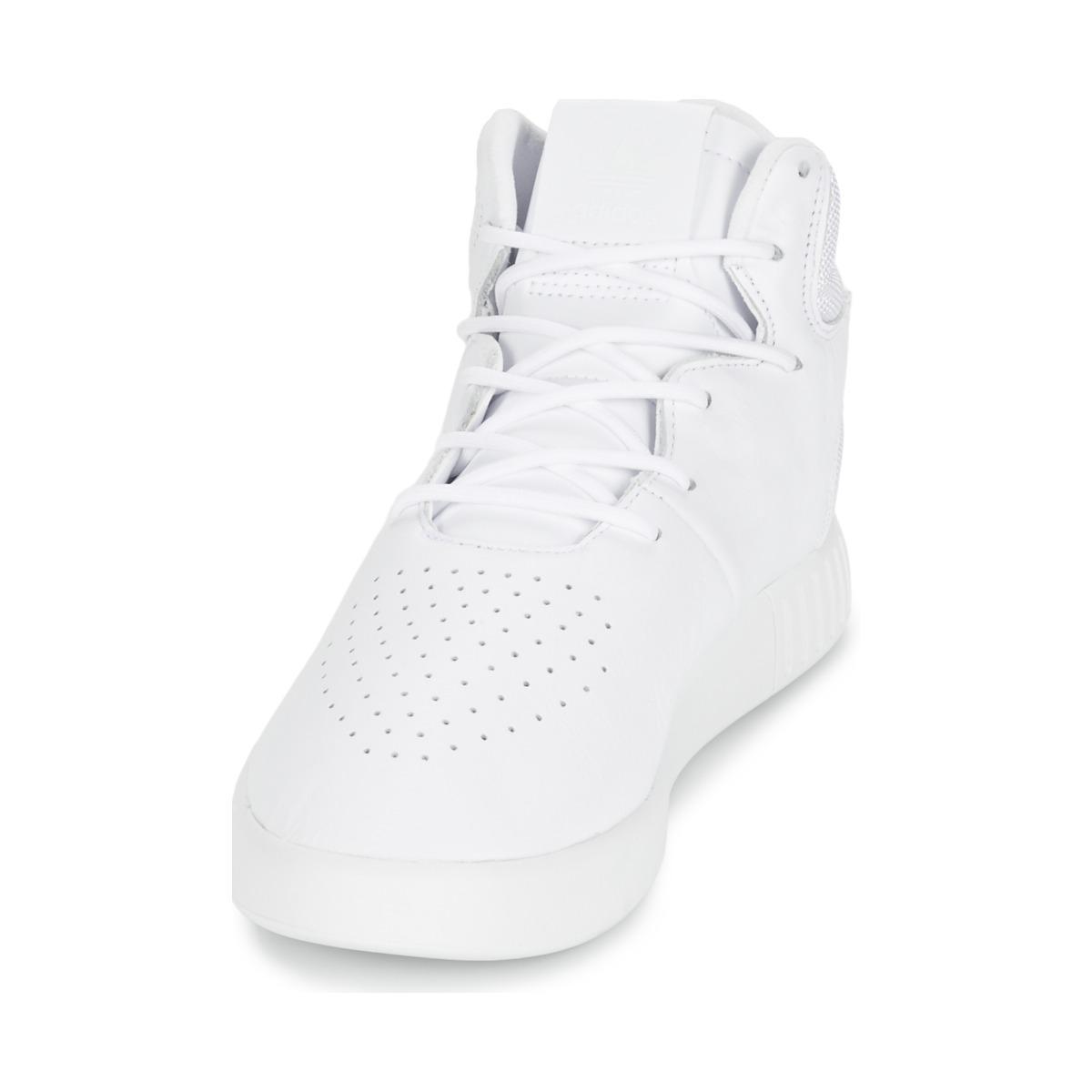 adidas Leather Tubular Invader Men's Shoes (high-top Trainers) In White for Men