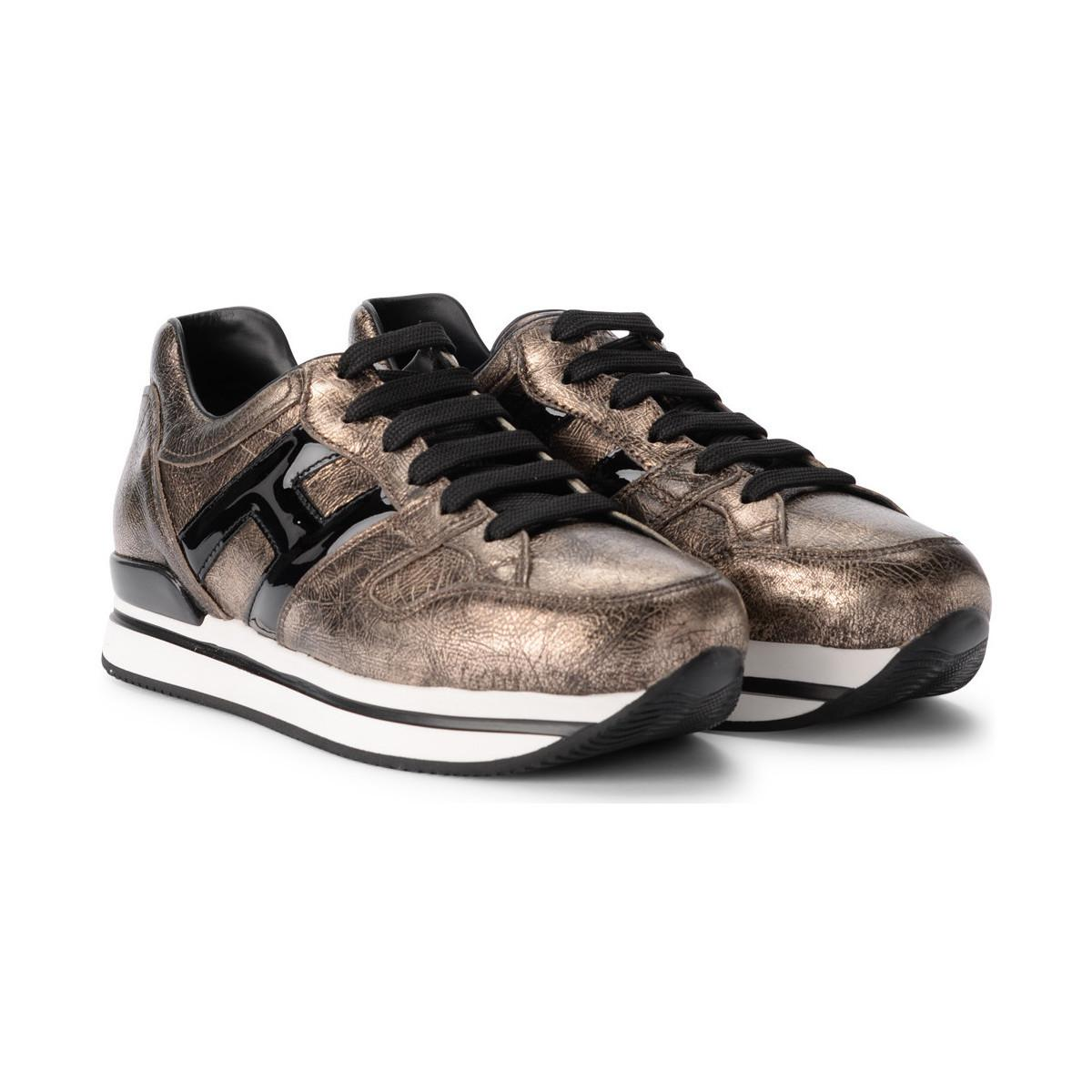 3d9ff5a2e5043e Hogan H222 Pale Golden Leather And Black Patent Leather Sneaker ...
