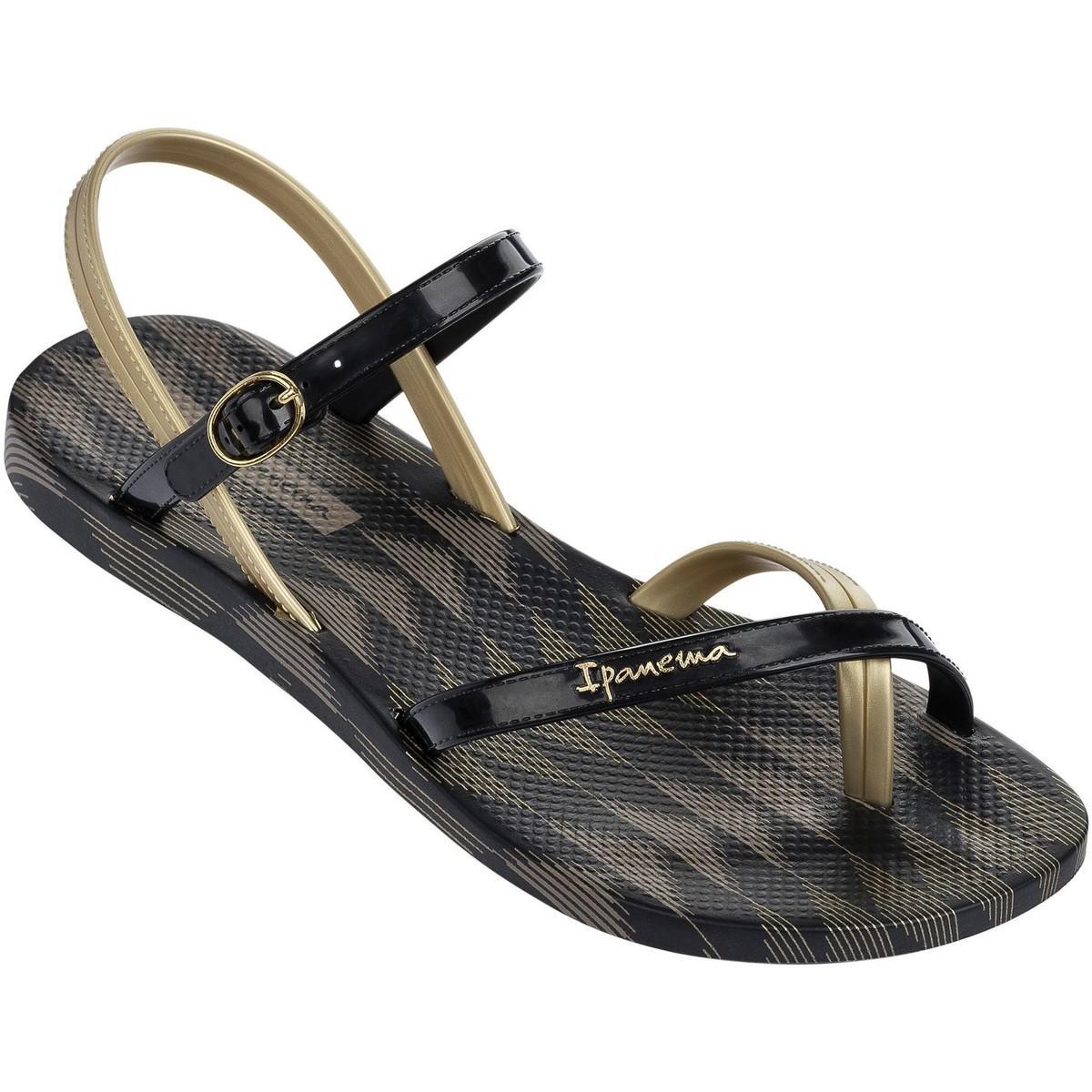 cf4a974beacba Ipanema Diamond V Sandals In Black Gold Print 81929 Women's Flip ...