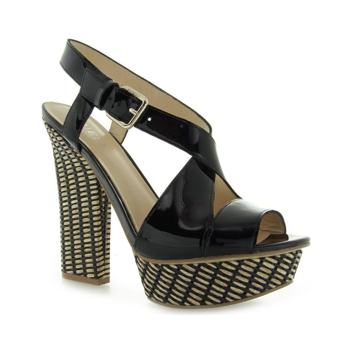 47e14d18ec3 Guess Jolani Sandalo Sandal Patent Black Women s Sandals In Black in ...