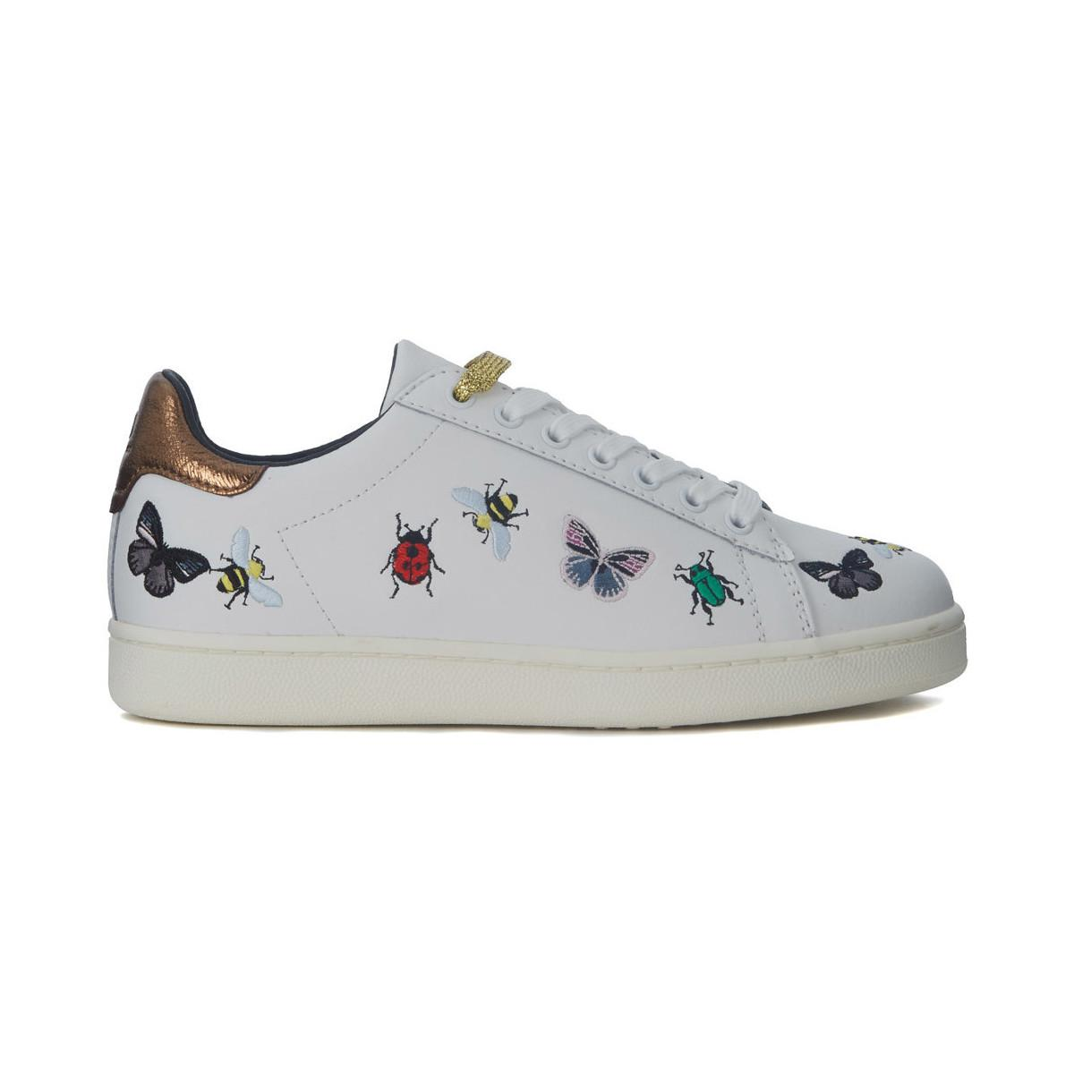 MOA Sneaker Moa Bugs In Pelle Bianca Con Ricami Women's Shoes (trainers) In White