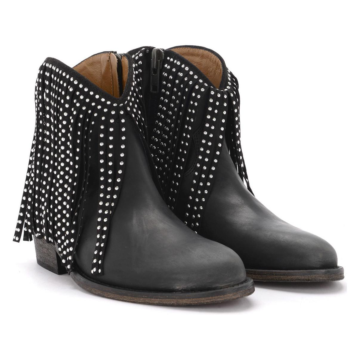 a37b700c72 Via Roma 15 - Texan Black Leather Ankle Boots With Fringes Women's Low Boots  In Black. View fullscreen