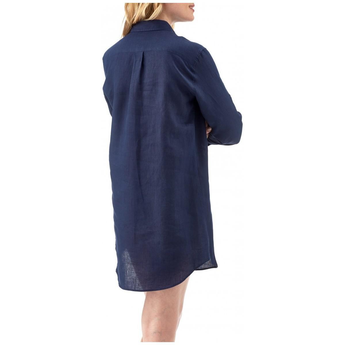 Chemise Longue en Lin Boyfriend Fragance femmes Chemise en bleu Lin Vilebrequin en coloris Bleu - 17 % de réduction