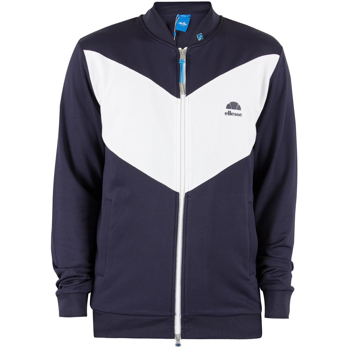Ellesse Synthetic Men's Riva Jersey Logo Bomber Jacket, Blue Men's Jacket In Blue for Men