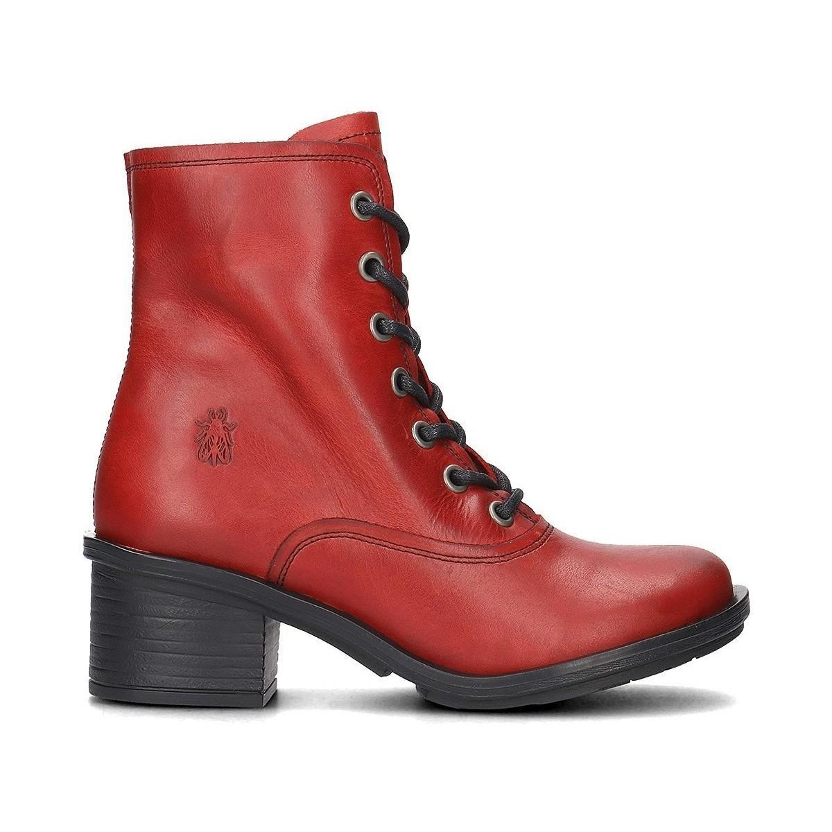 Fly London Carm Women's Low Ankle Boots In Red