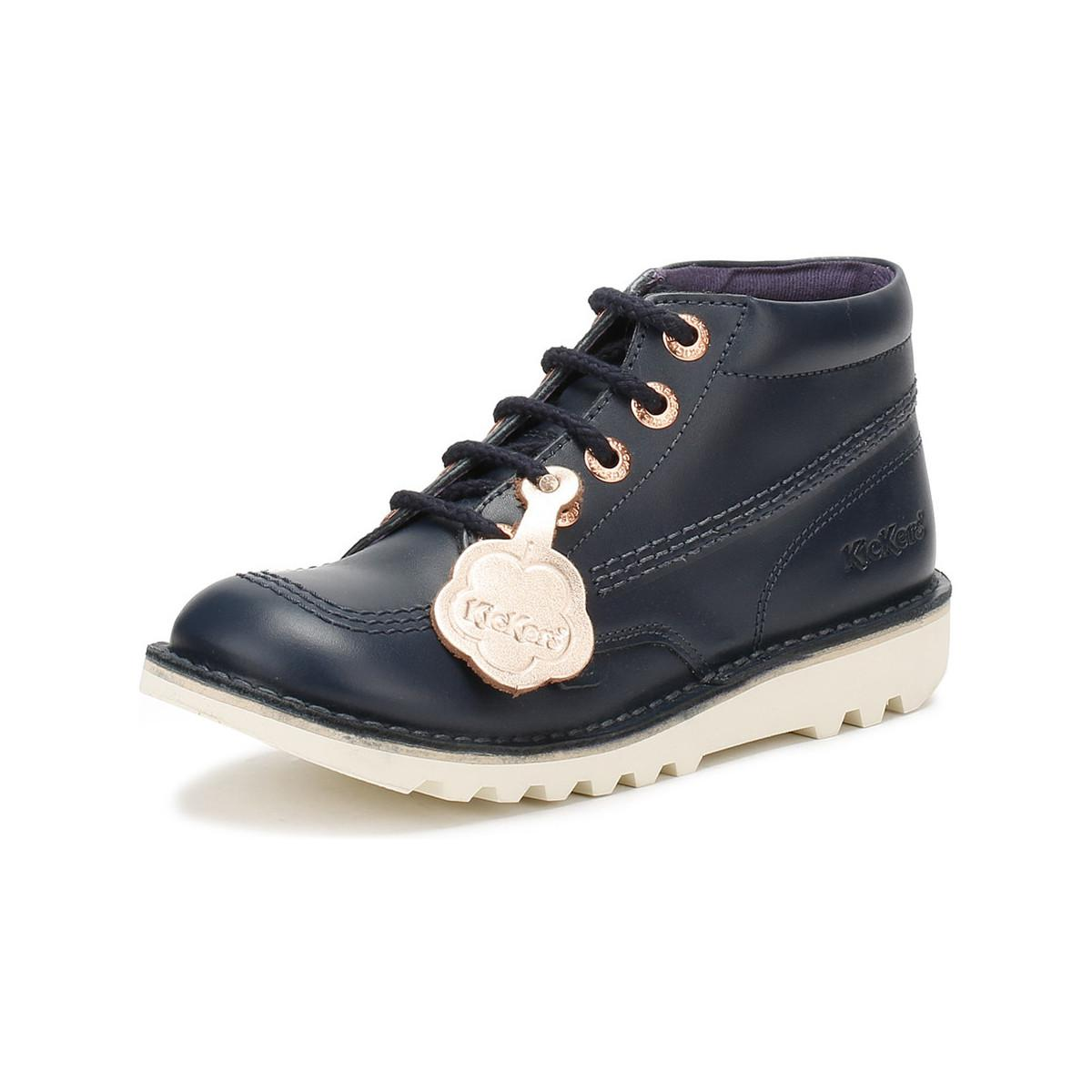 2466dc8743 Kickers - Youth Navy Leather Kick Hi Boots Girls s In Blue for Men - Lyst.  View fullscreen