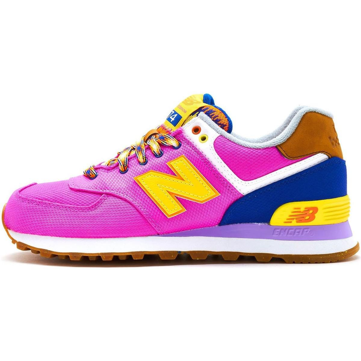 best service f149f 3897b New Balance 574 Suede Retro Women Trainers In Pink Yellow ...