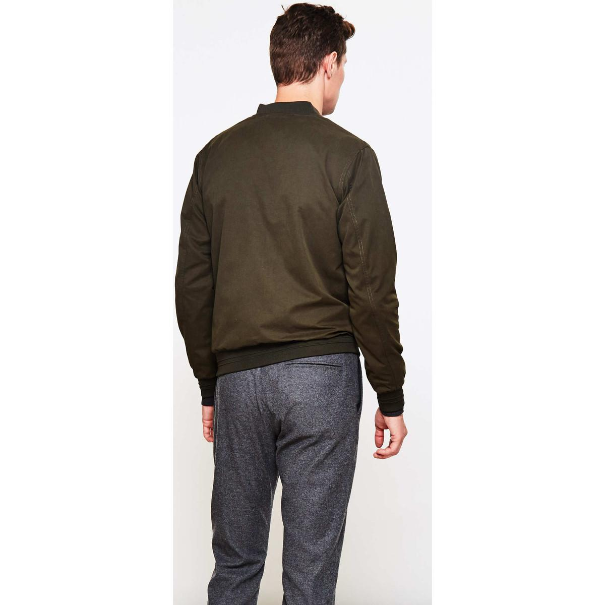 The Idle Man Synthetic Baseball Style Bomber Jacket Green for Men