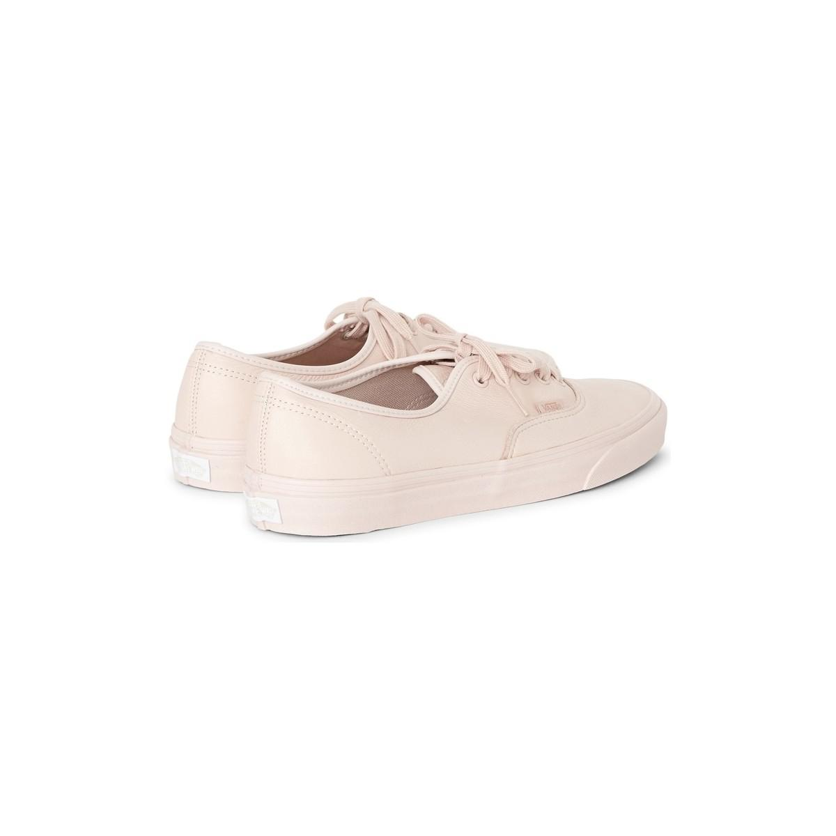 Vans Ua Authentic Leather Plimsoll Pink Men's Shoes (trainers) In Pink