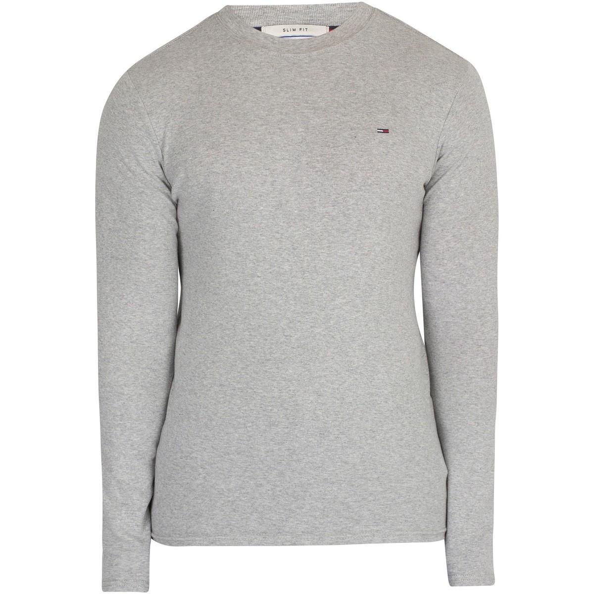 cf405ae9 Tommy Hilfiger Men's Slim Rib Longsleeved T-shirt, Grey Men's ...
