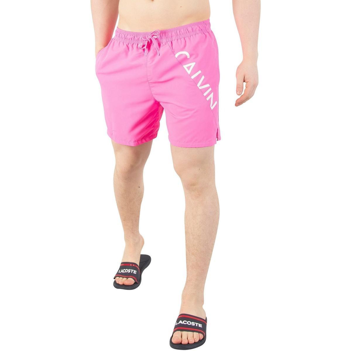 1ba856eb5b Calvin Klein Men's Medium Drawstring Swim Shorts, Pink Men's Shorts ...