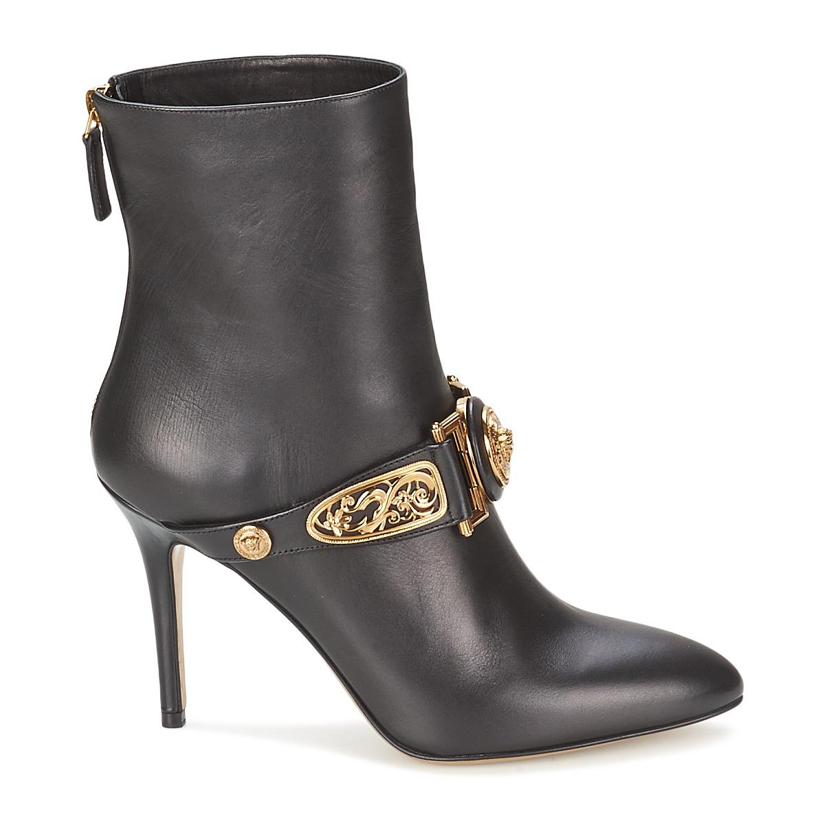 Versace Leather Iris Women's Low Ankle Boots In Black