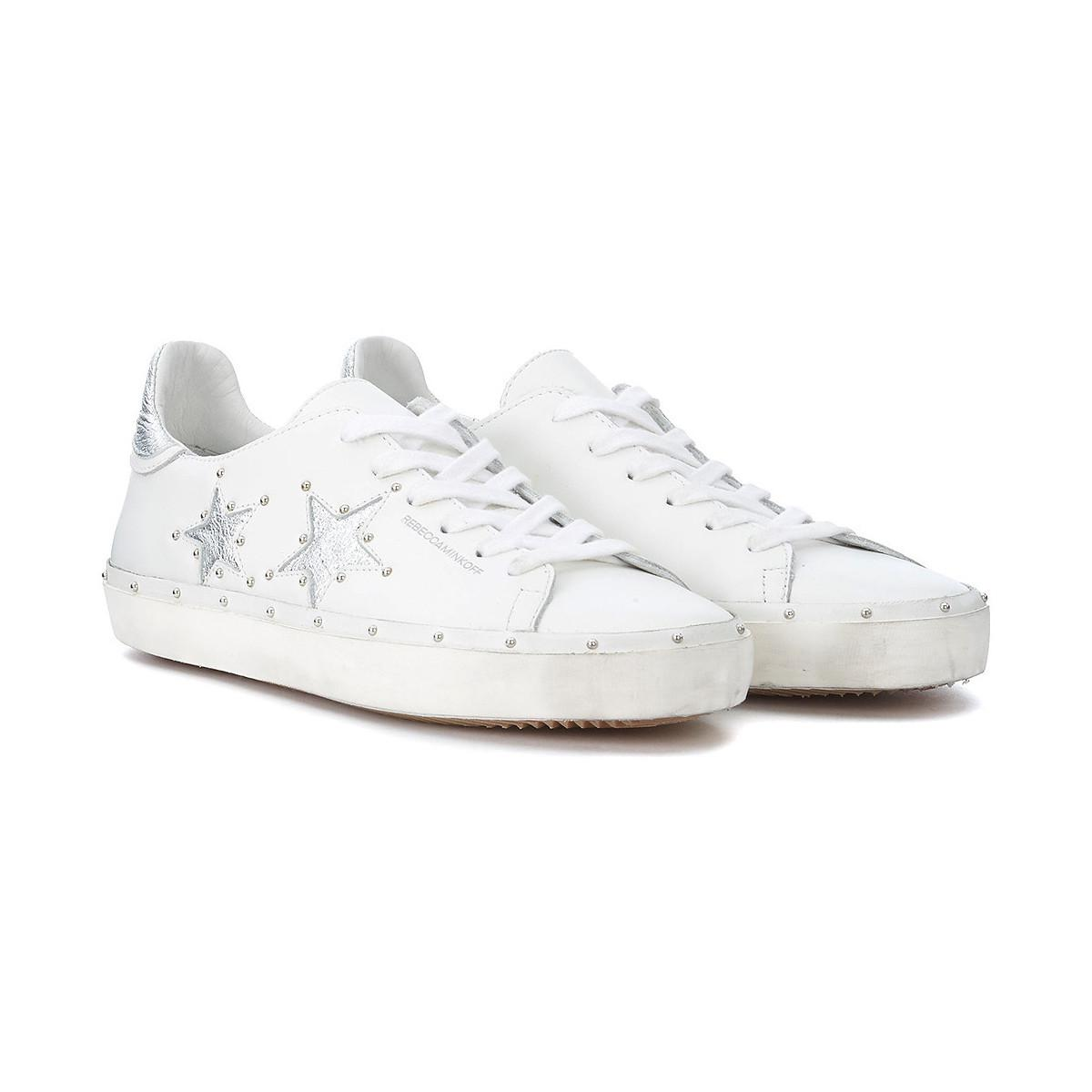 Rebecca Minkoff Michell White And Silver Leather Sneaker With Studs ... 91e1293b897