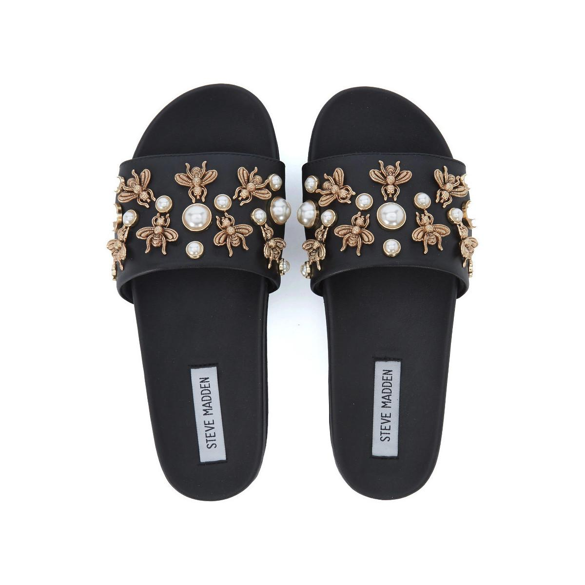 be60875fdda Steve Madden - Adorn Black Eco Leather Slipper With Pearls And Insects Women s  Sandals In Black. View fullscreen