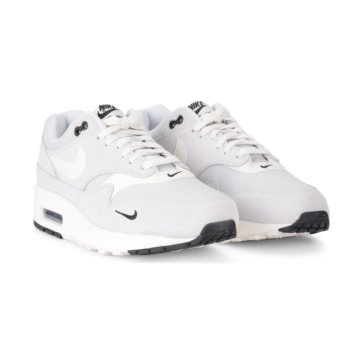 Nike Air Max 1 Premium Grey Suede And Fabric Sneaker Men's Shoes (trainers) In Multicolour in White for Men