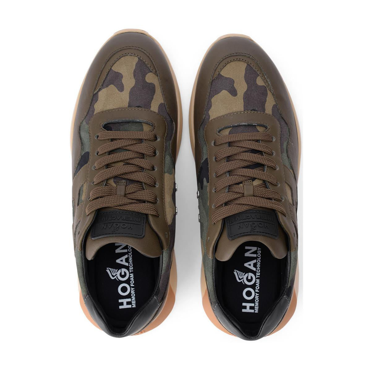 Hogan INTERACTIVE3 Men/'s sneakers shoes in camouflage fabric and green leather