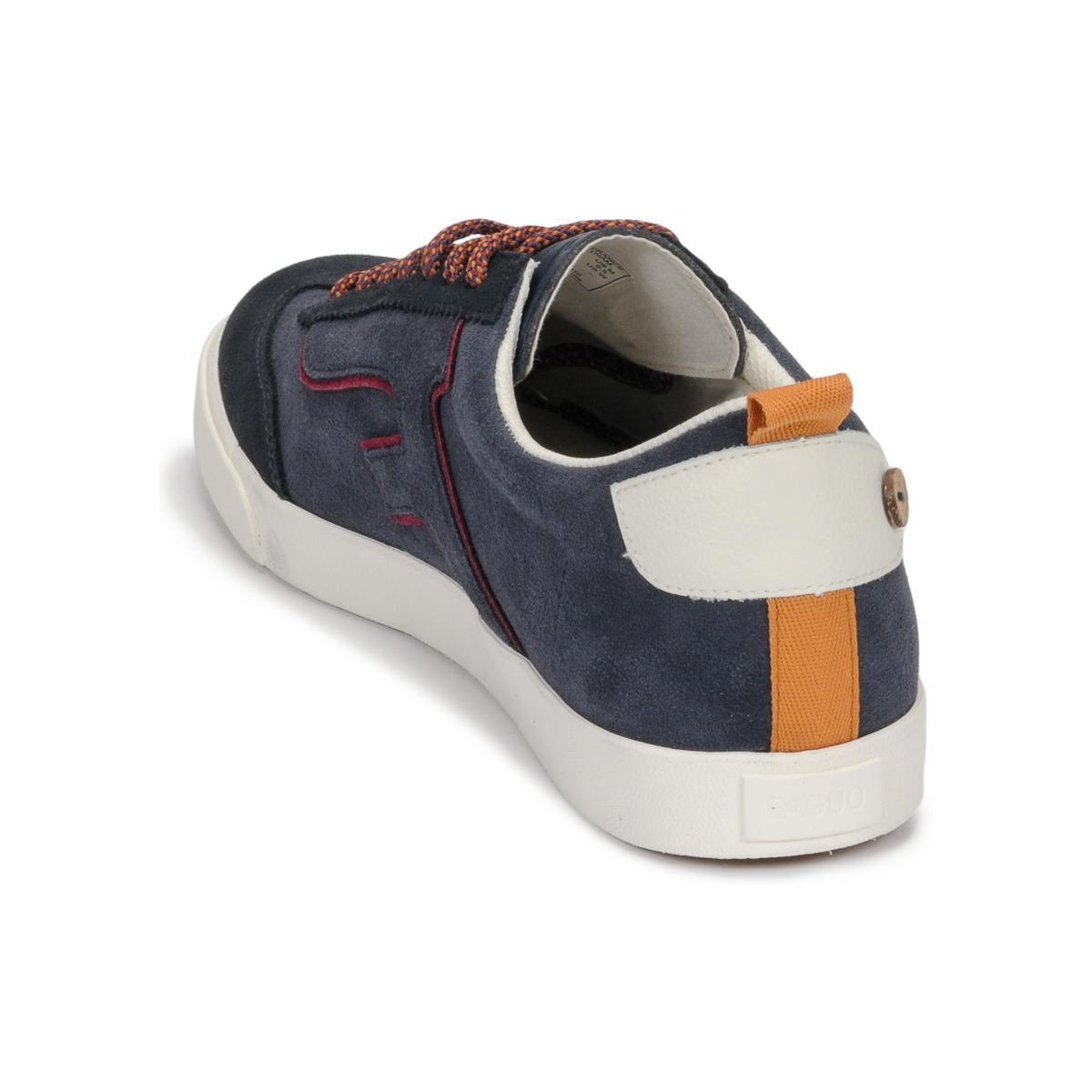 Faguo Lage Sneakers Wellington Suede in het Blauw voor heren