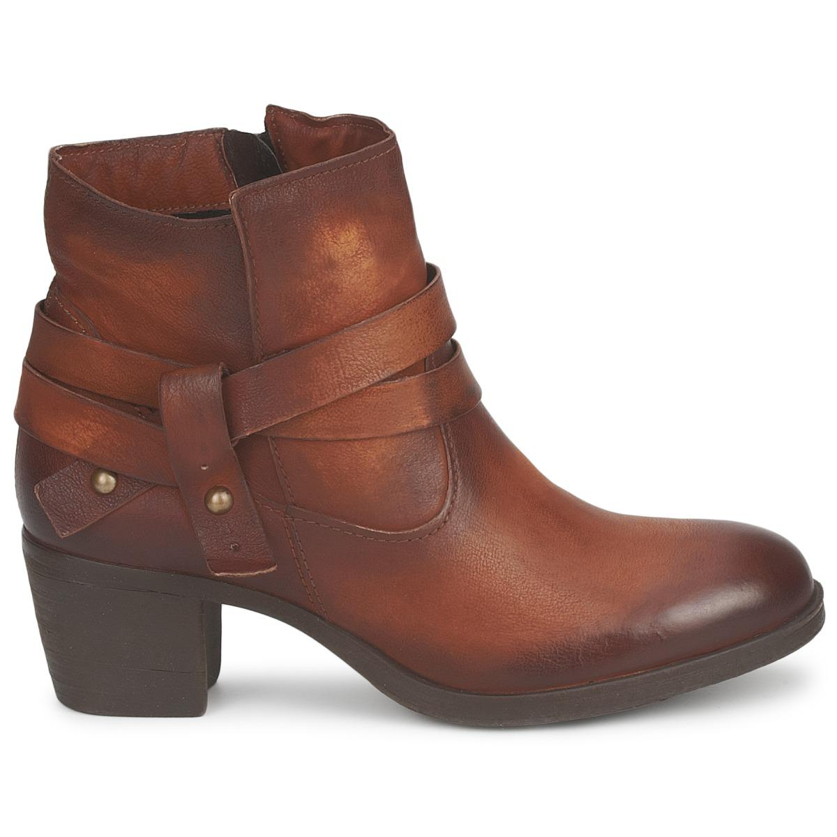 Dream in Green Leather Neltone Women's Low Boots In Brown