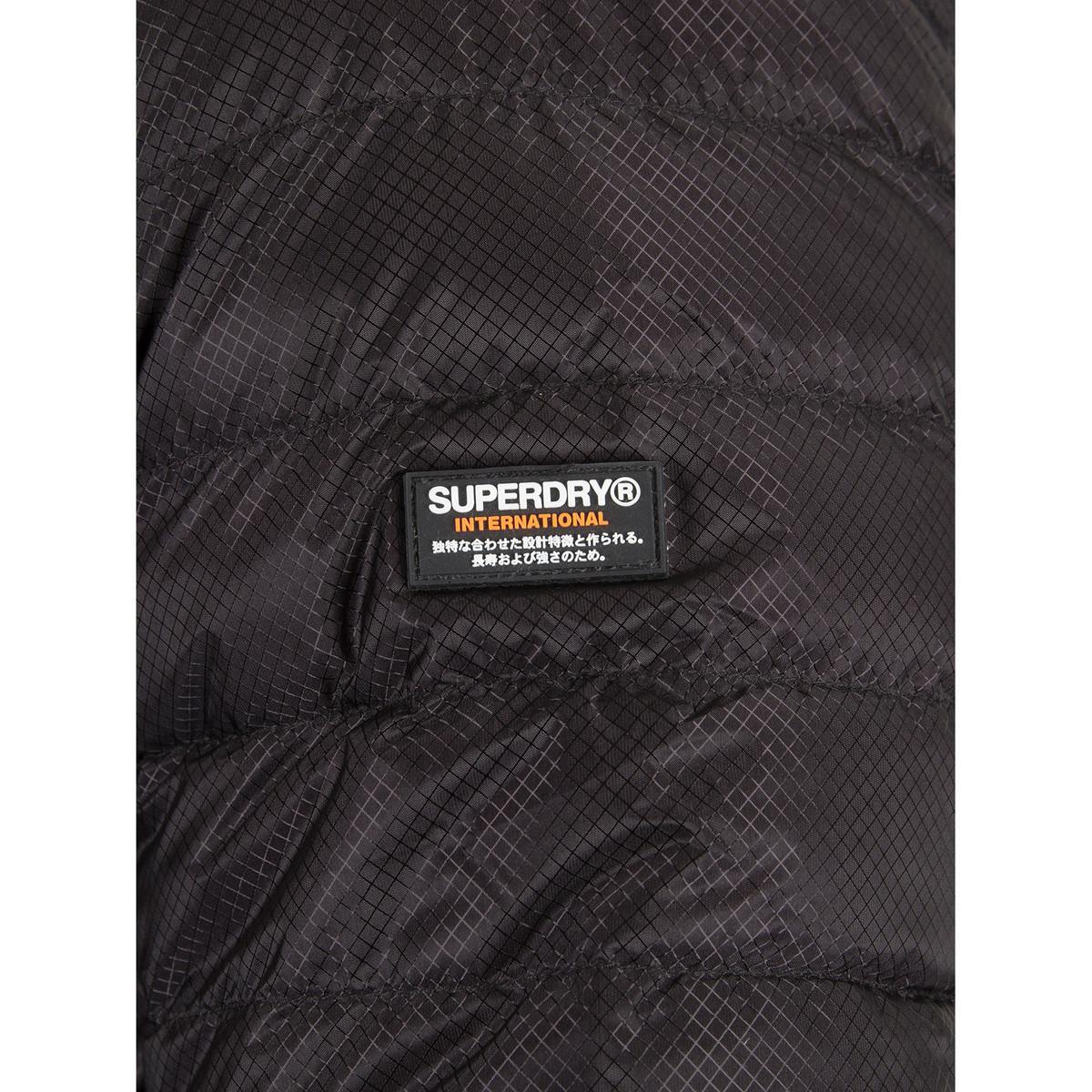 Superdry Synthetic Men's Micro Quilt Down Jacket, Black Men's Jacket In Black for Men