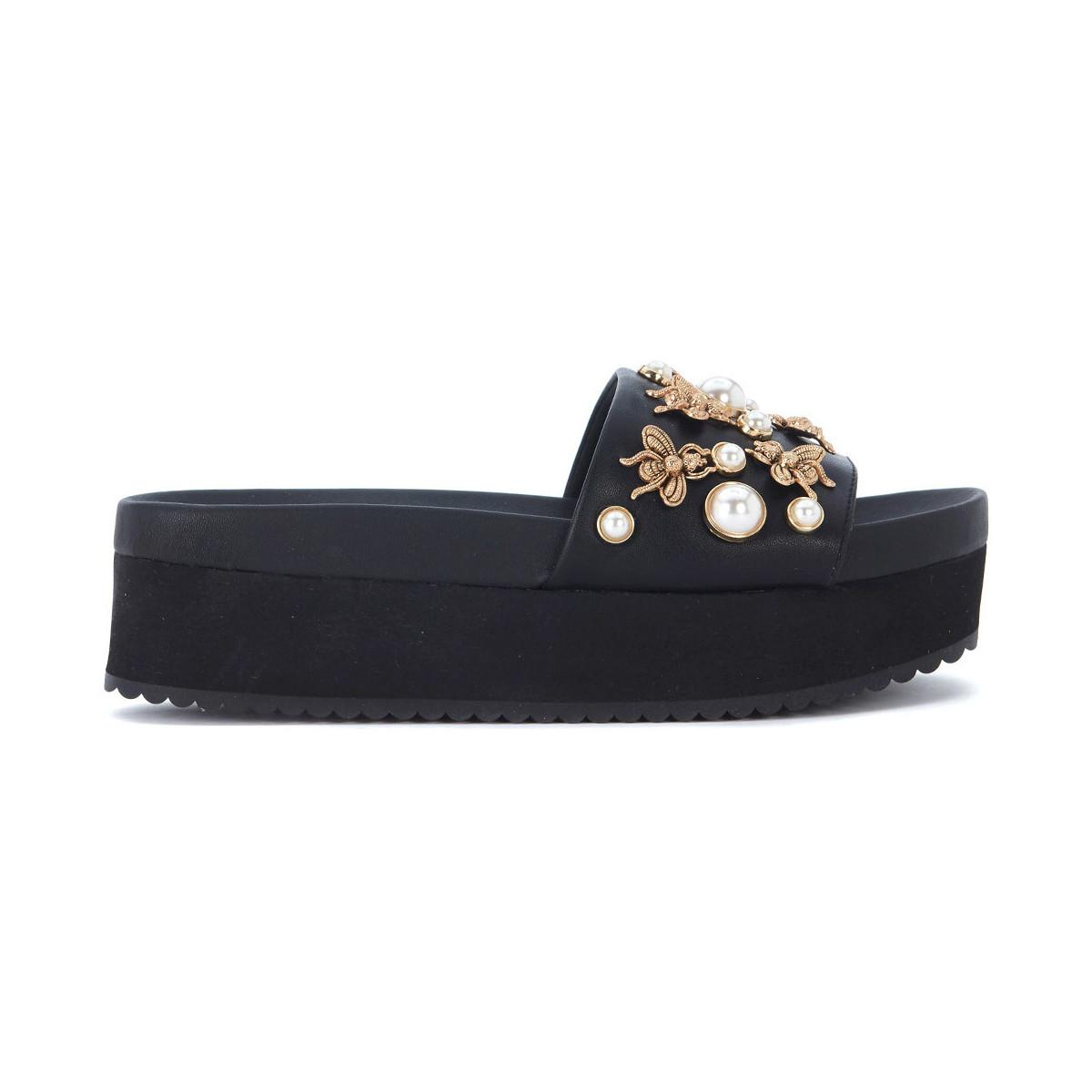 7be16d430dc Adorn Black Eco Leather Slipper With Pearls And Insects Women's Sandals In  Black