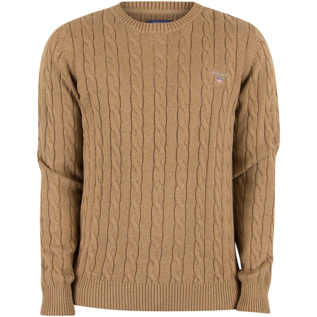 GANT Men's Logo Cable Knit, Brown Men's Sweater In Brown for Men