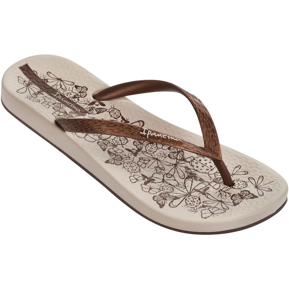 70cadb20b Ipanema Nature Flip Flops In Beige Bronze Flowers Print 81926 ...
