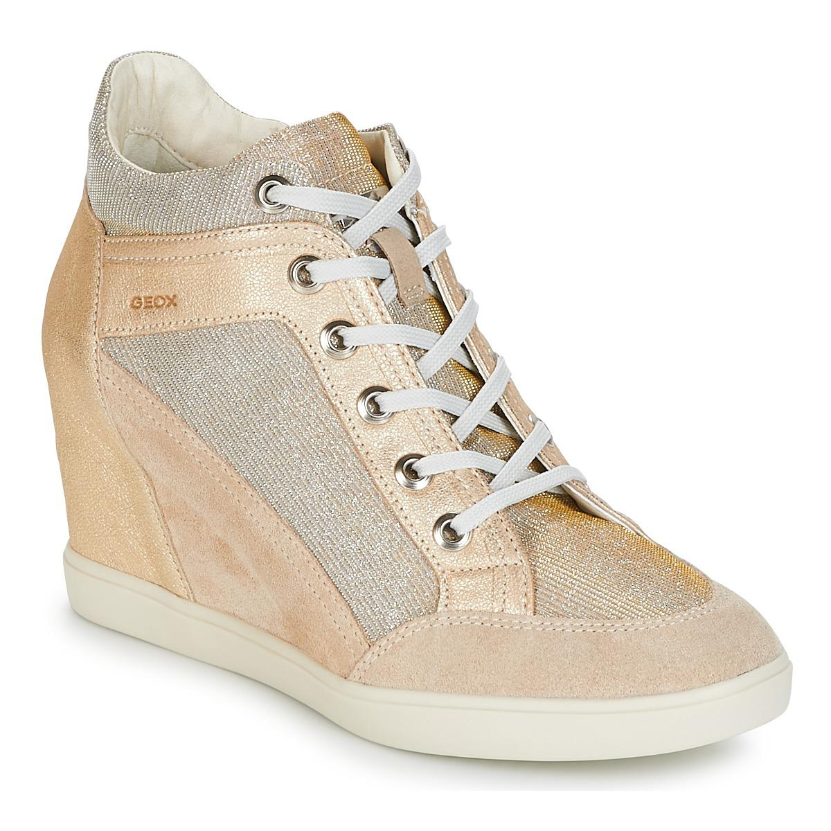 Geometría postre Adicto  Geox D Eleni C Shoes (high-top Trainers) in Gold (Metallic) - Lyst