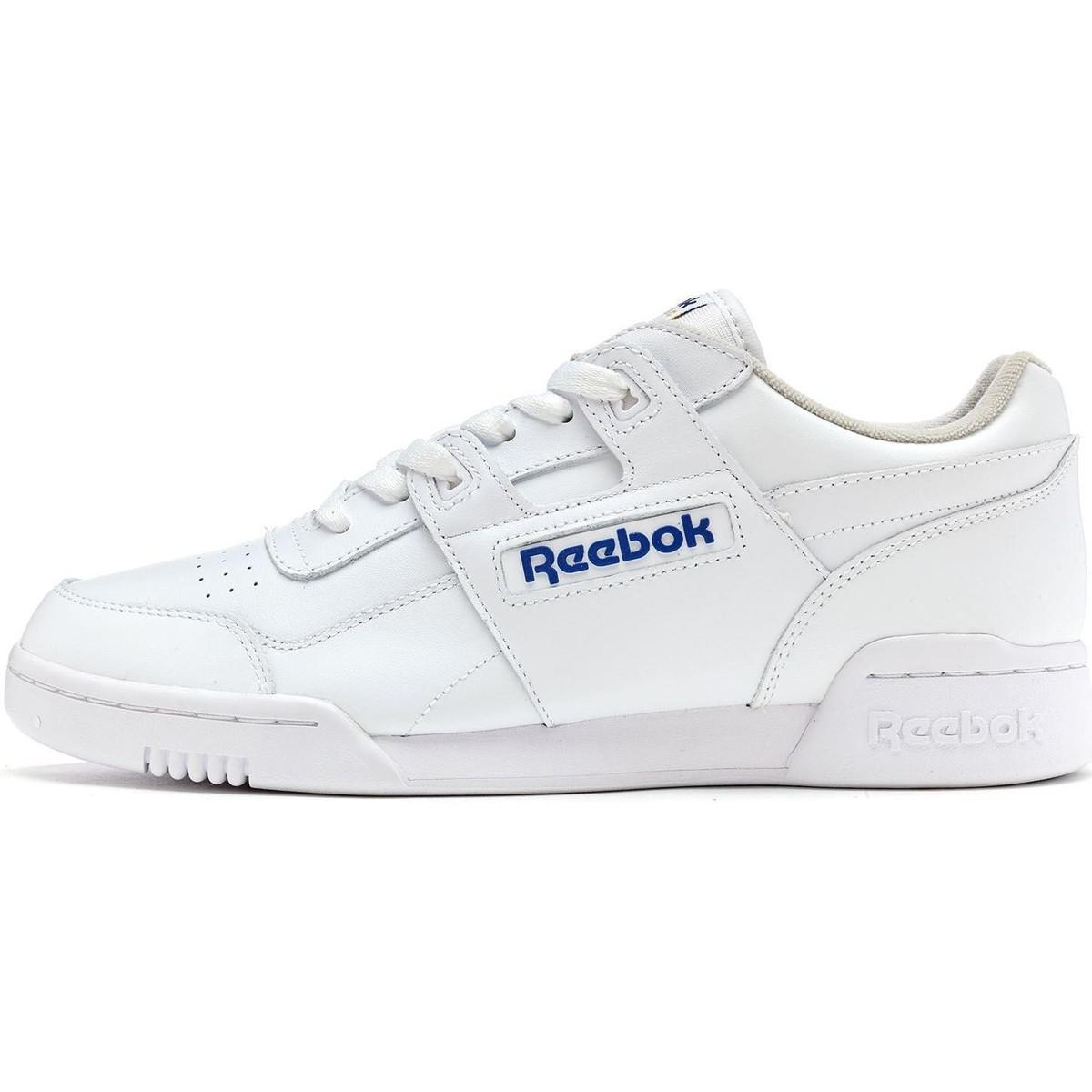 89786a273c8 Reebok Classics Workout Plus Trainers In White Royal Blue 2759 Men s ...