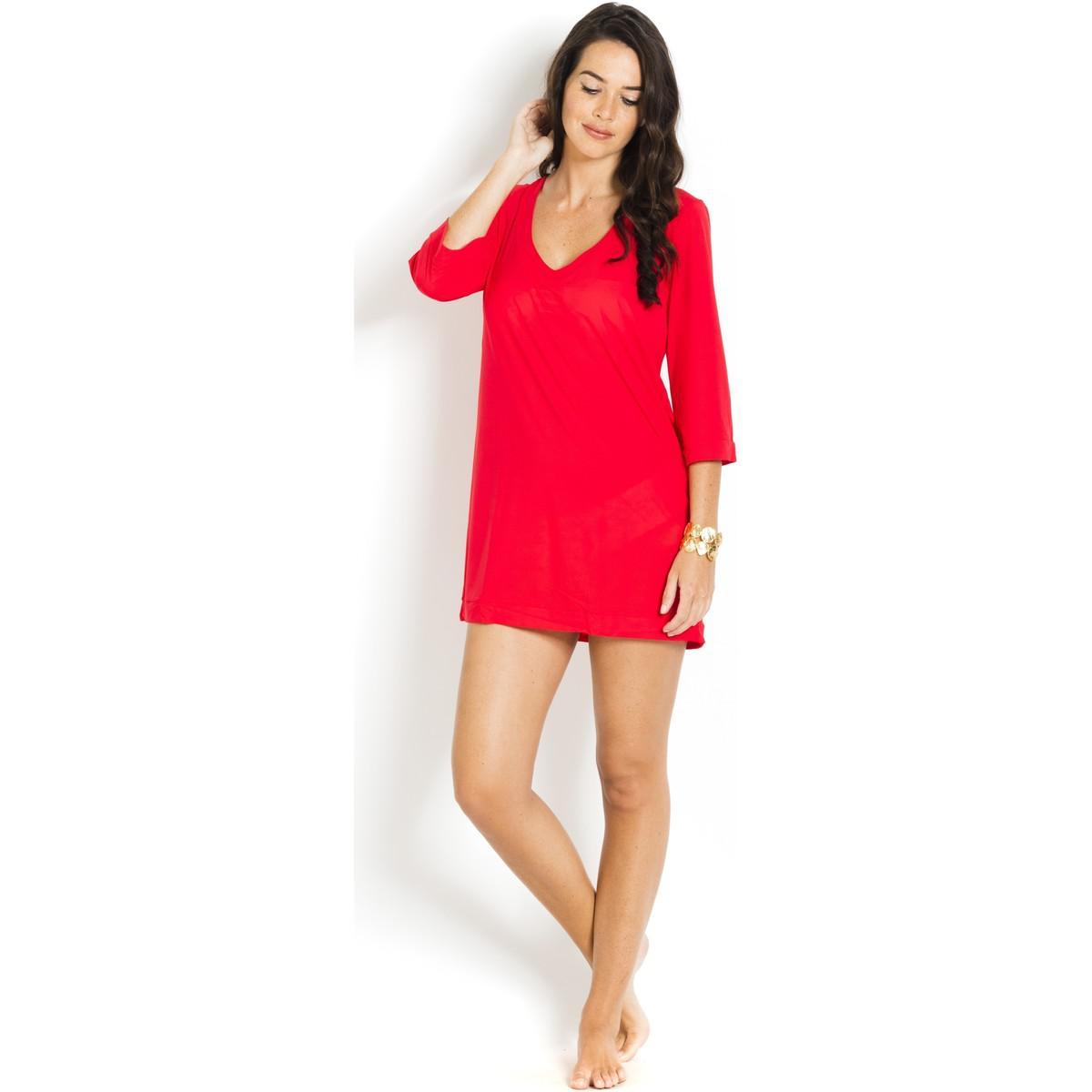 Short Beach Dress V-neckline Nessa PAIN DE SUCRE Red - Voile Uni Pain De Sucre aQ6kJai