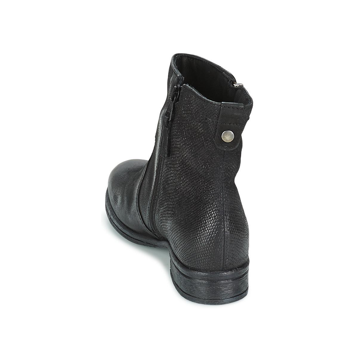 Dream in Green Leather Aksana Women's Mid Boots In Black