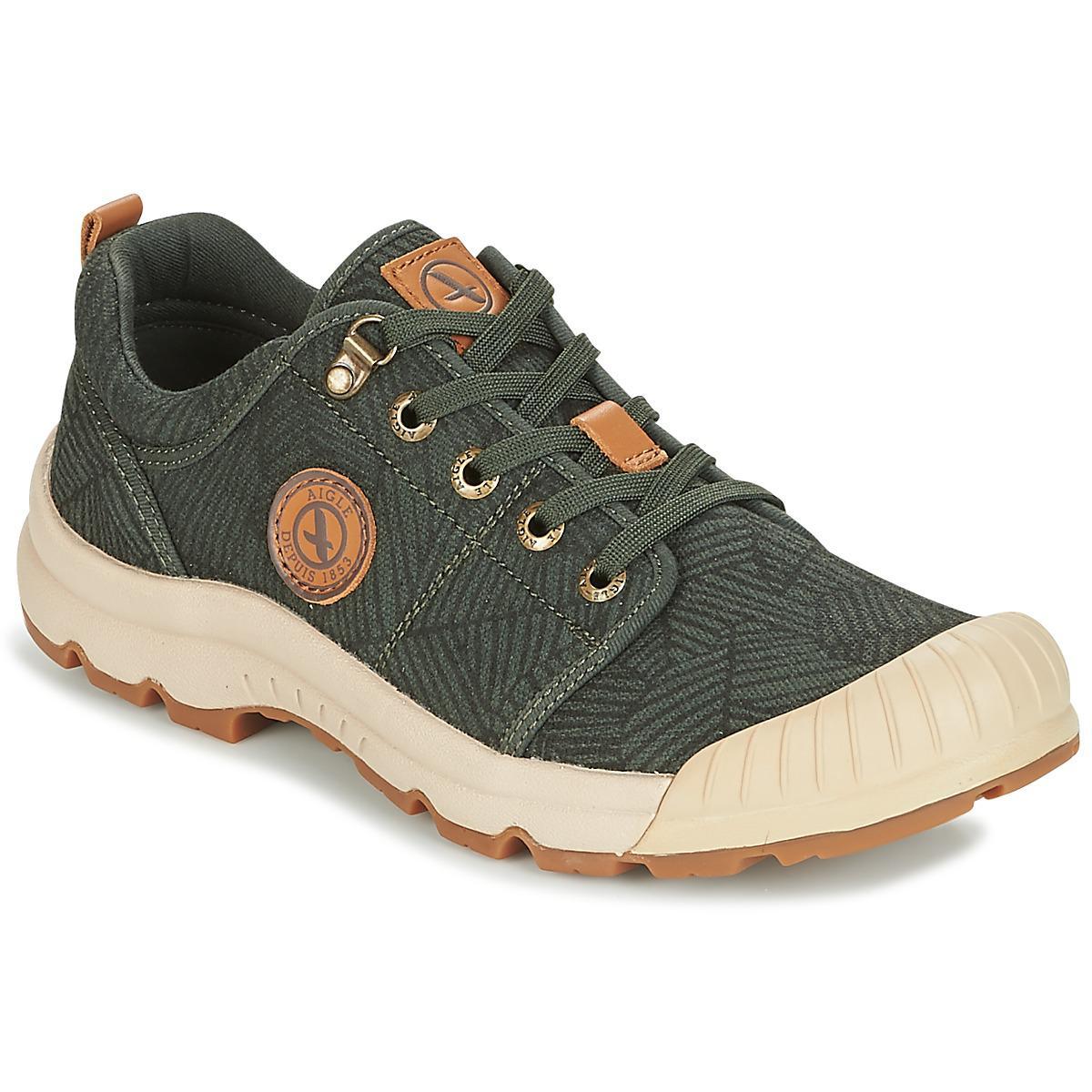 Shoes In Low Tenere Print Aigle Light Men's trainers Green Canvas gFWq4R