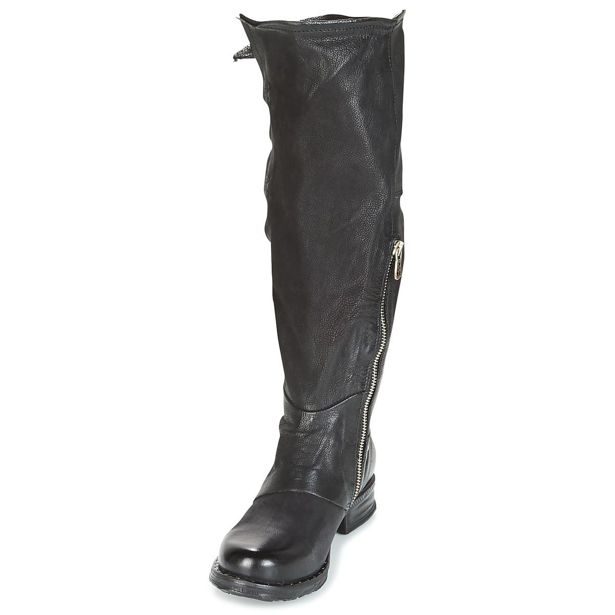 A.s.98 Leather Saintriv Buckle High Boots in Black