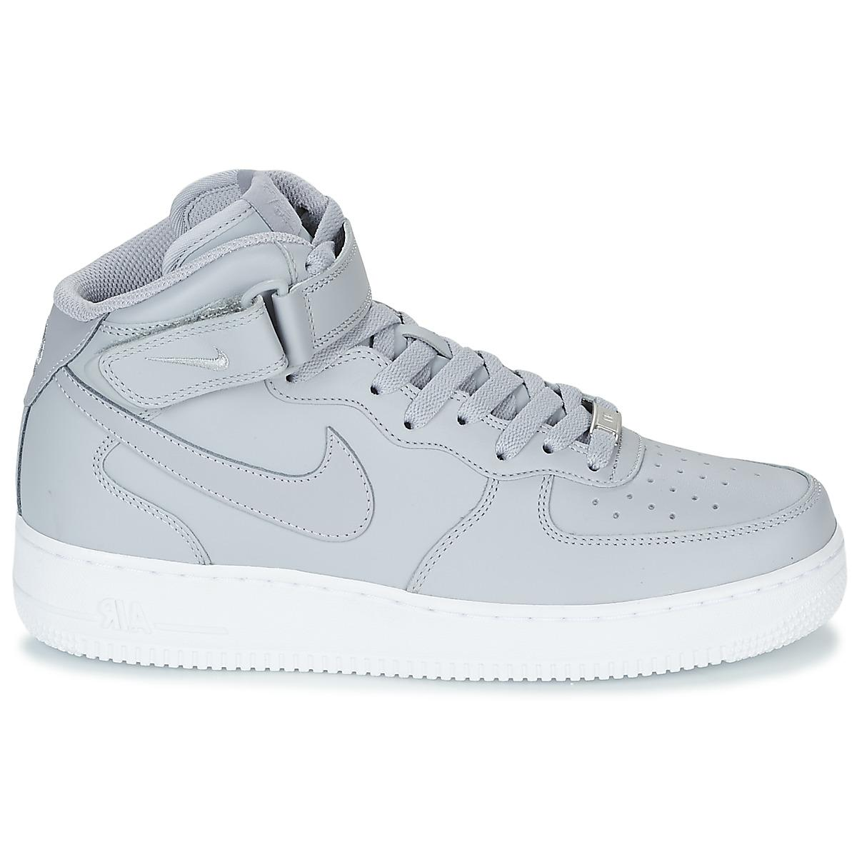 Nike Leather Air Force 1 Mid Wolf Grey White (2007) in Grey for Men