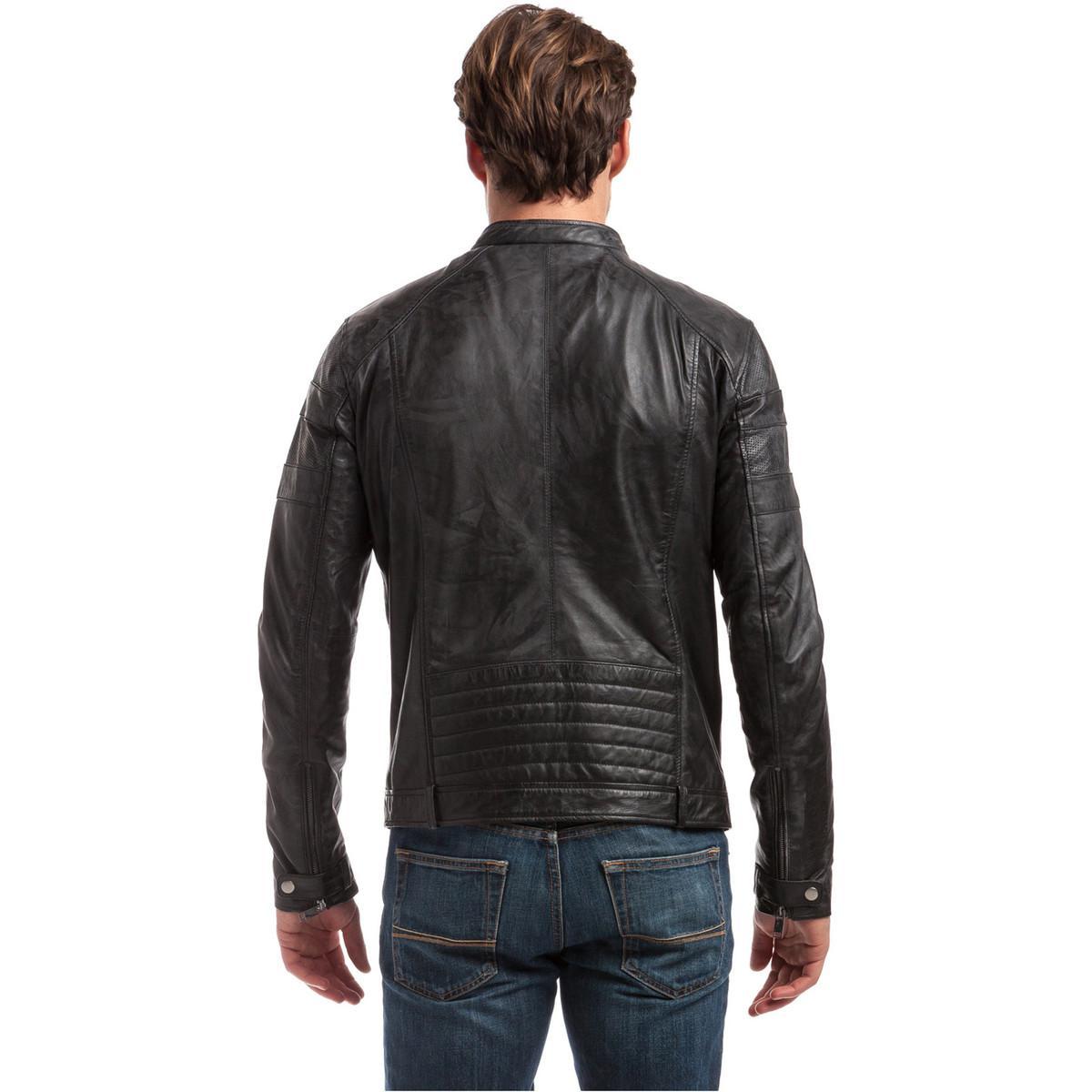 Best Mountain Leather Jacket Clinton Black Men's Leather Jacket In Black for Men