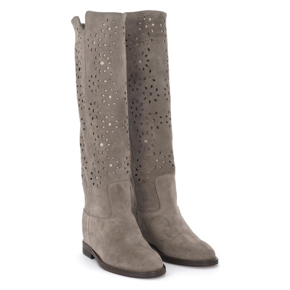74635d1007 Via Roma 15 - Gray Velour Grey Tundra Suede Pierced Leather Ankle Boots.  Women's High. View fullscreen