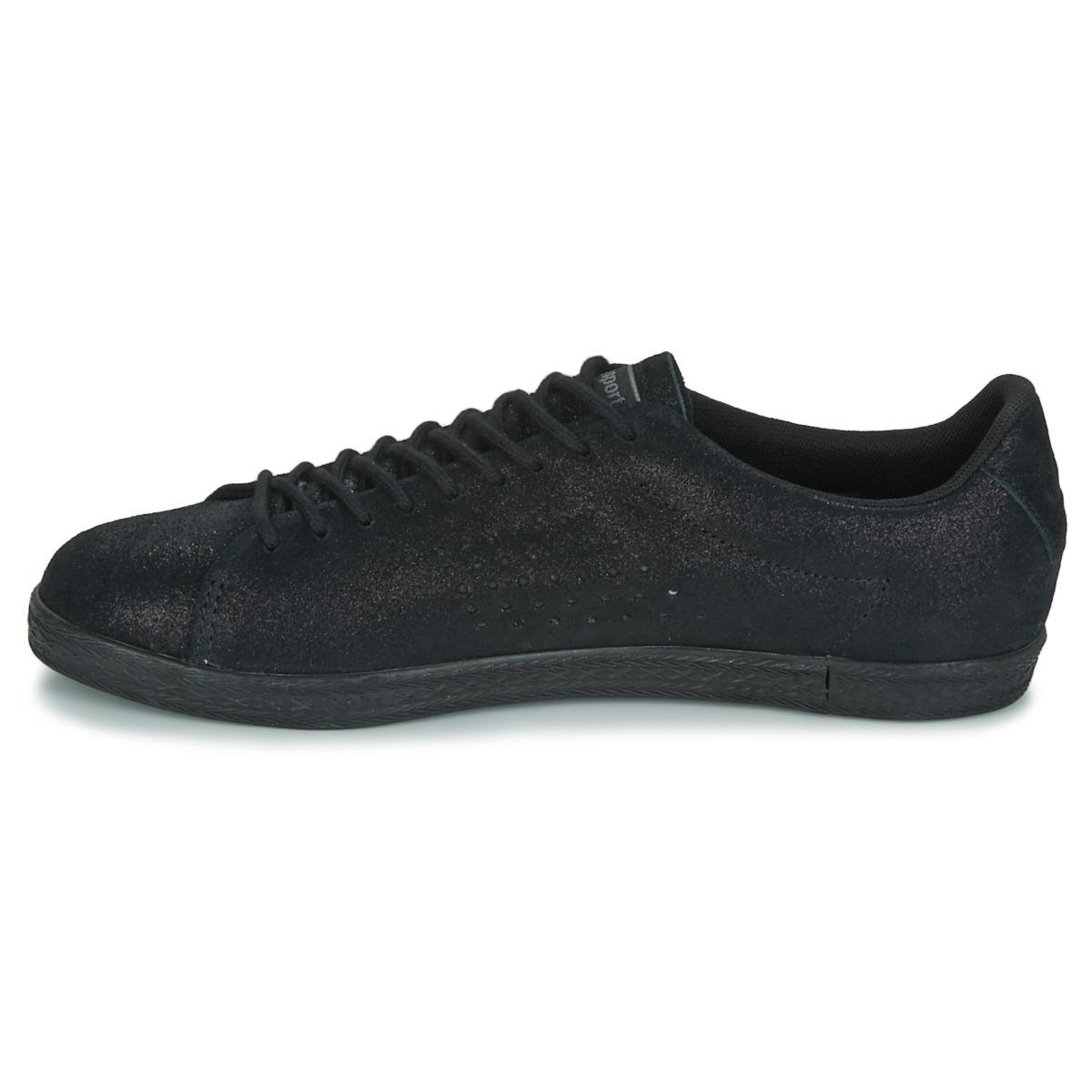 Le Coq Sportif Charline Metallic Suede Shoes (trainers) in Black