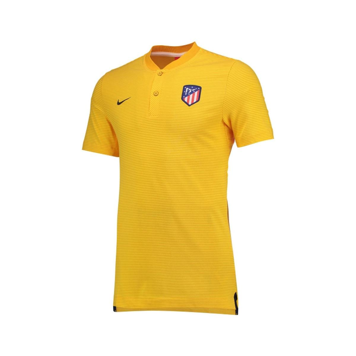 Nike. 2017-2018 Atletico Madrid Authentic Grand Slam Polo Shirt Men s T  Shirt In Yellow 2643a929a