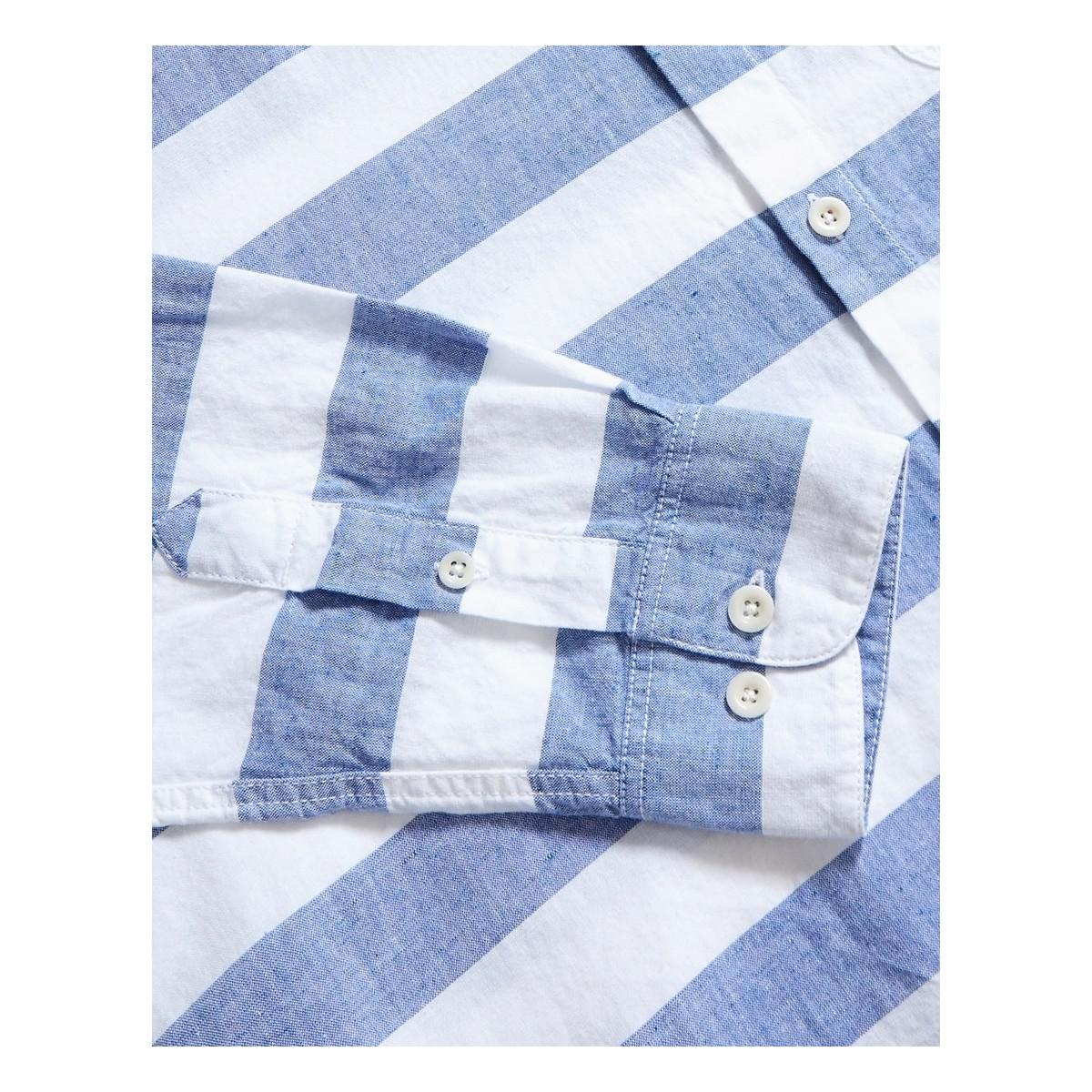Albam Cotton Hockney Shirt Thick Stripe Navy in Blue for Men