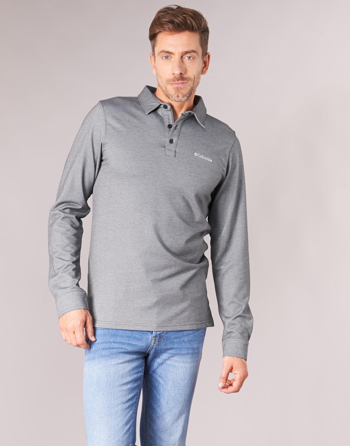 313f187f Columbia Pilot Peak Pique Polo Ls Men's Polo Shirt In Grey in Gray for Men  - Lyst