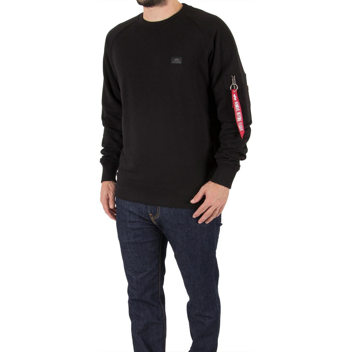 Alpha Industries Men's X-fit Sweatshirt, Black Men's Sweater In Black for Men