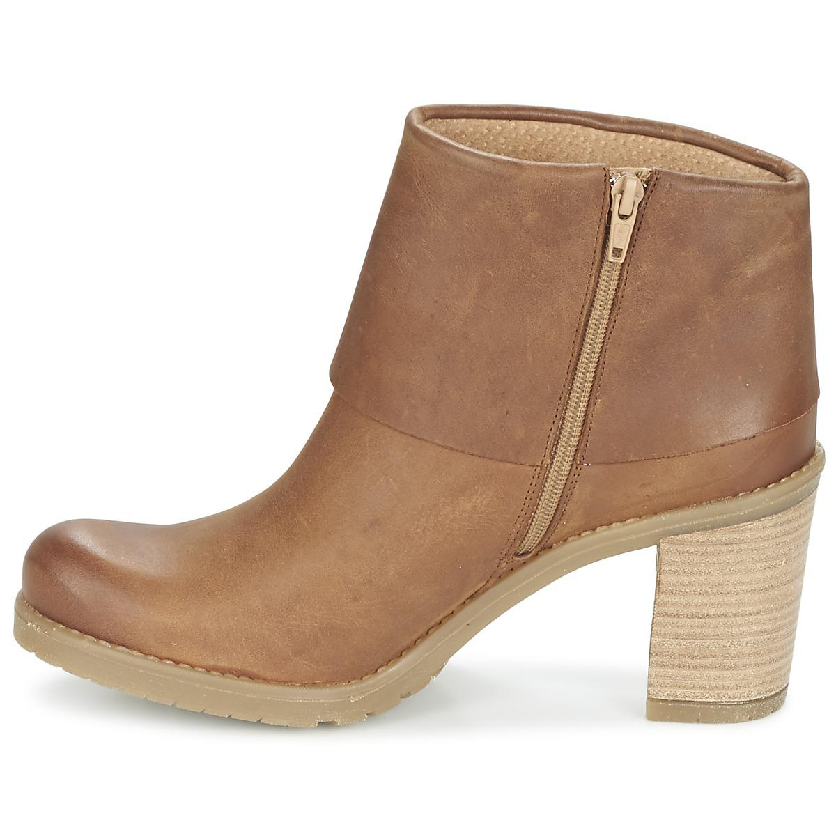 Casual Attitude Leather Concolor Women's Low Ankle Boots In Brown - Save 6%