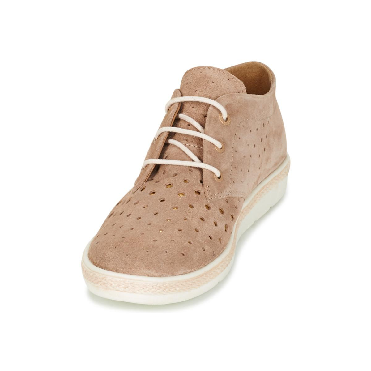 Bugatti Leather Forite Women's Mid Boots In Beige in Natural