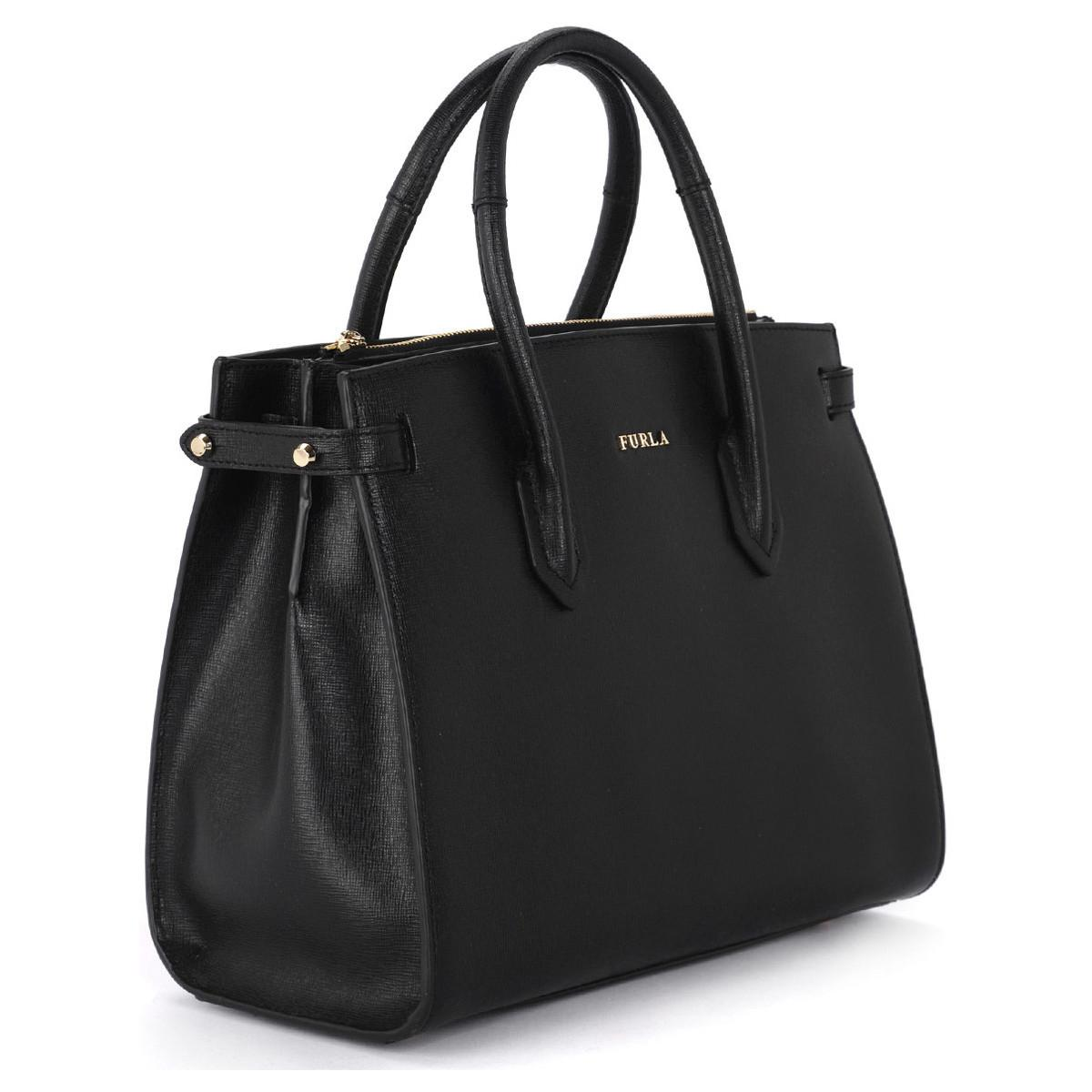 Furla Pin S Black Leather Handbag Women s Handbags In Black in Black ... 49ec94bbd7f