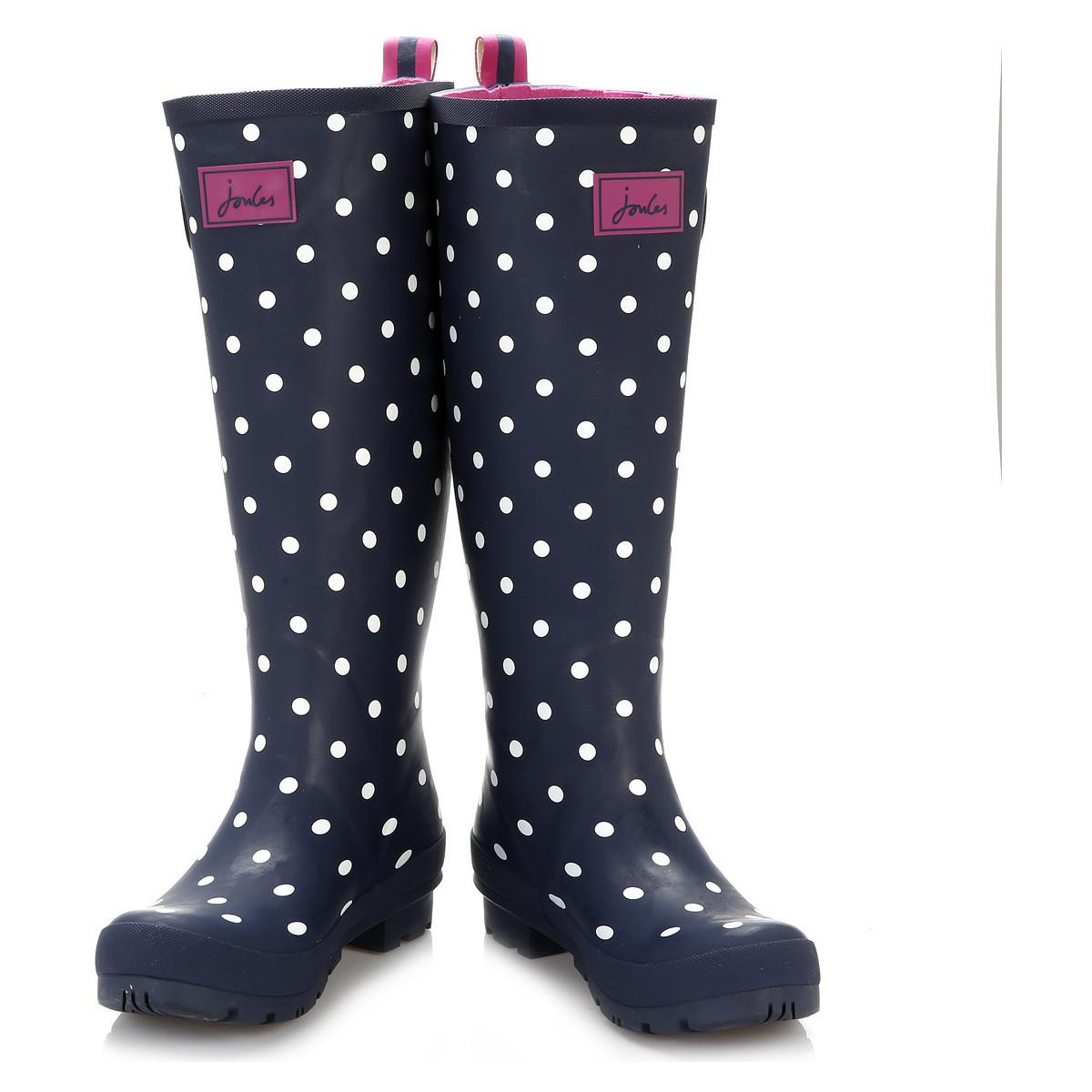 Joules Rubber Womens Navy Spot Wellington Boots in Blue