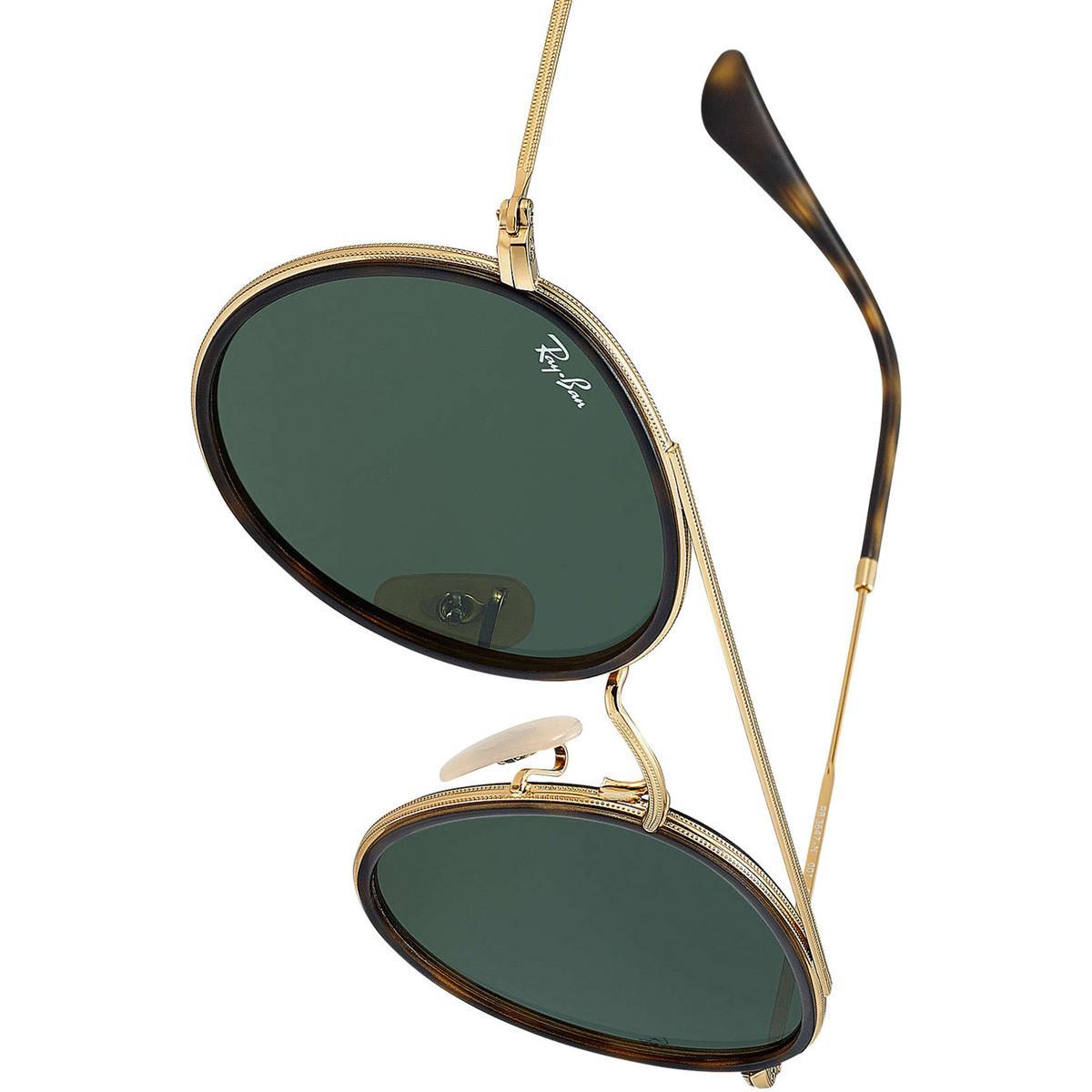Ray-Ban Men's Round Double Bridge Metal Sunglasses, Gold Men's In Gold in Metallic for Men