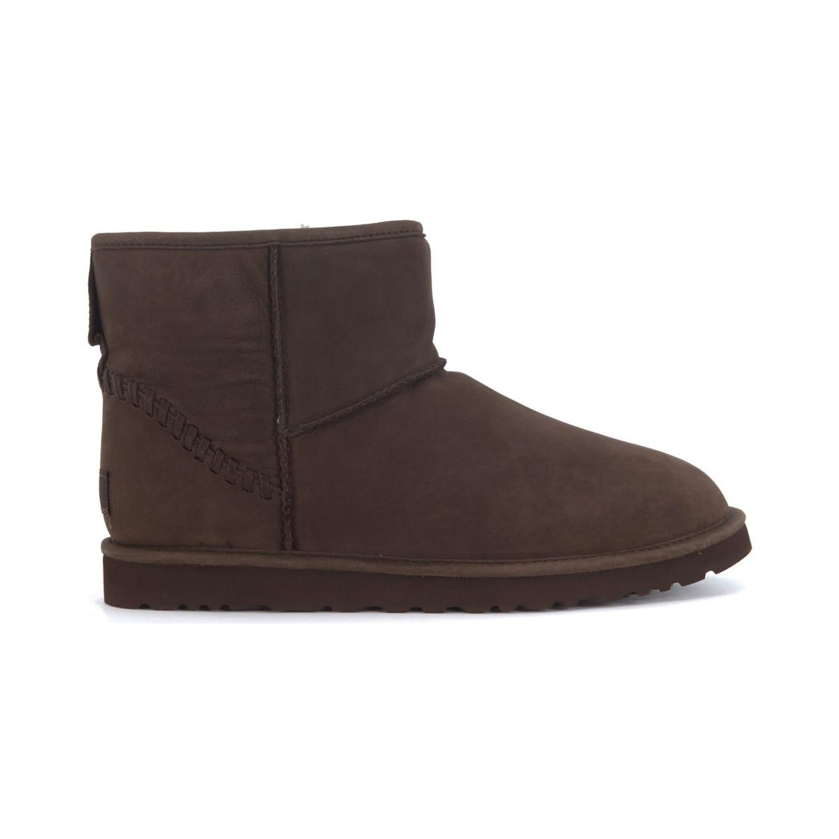 03442a2dda8 UGG Classic Mini Deco Goat Ankle Boots In Chicolate Brown Leathe ...
