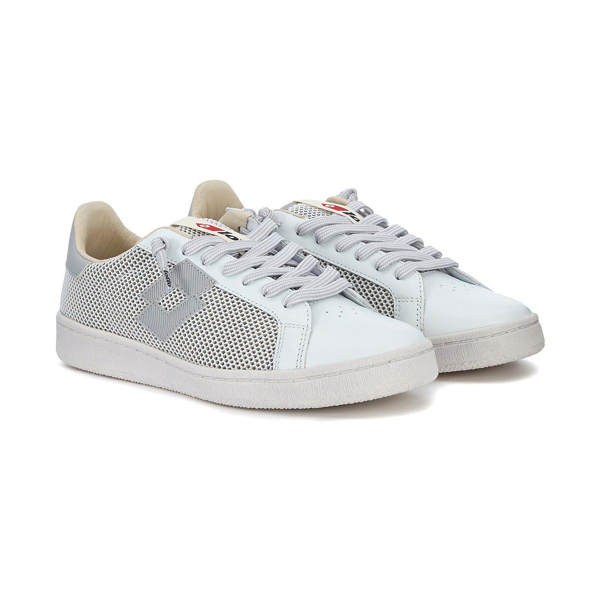 Lotto - Leggenda Autograph White And Grey Leather And Mesh Sneaker Men s  Shoes (trainers). View fullscreen f5ad4c16d07