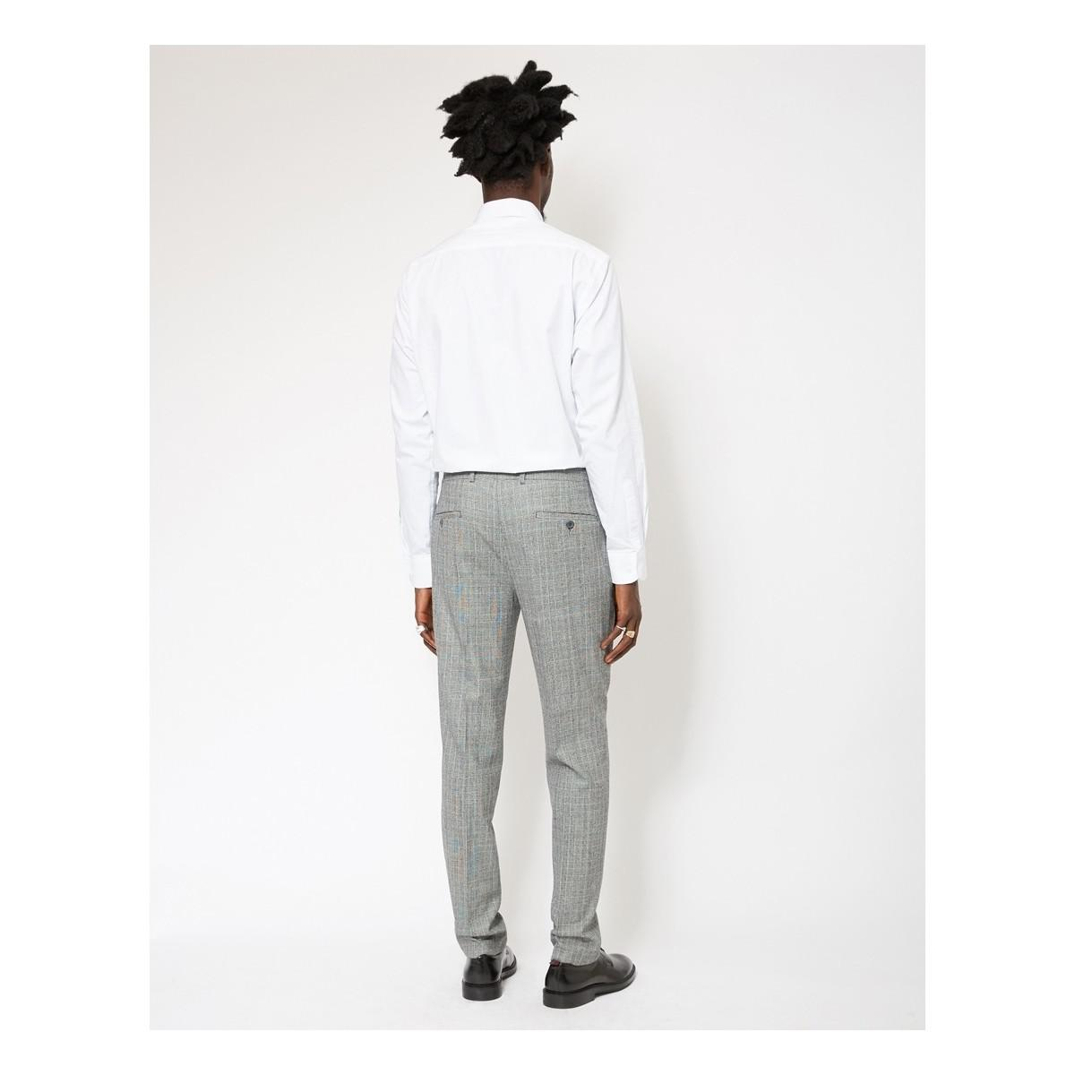 The Idle Man Slim Prince Of Wales Check Pure Wool Suit Trousers Men's Trousers In Grey in Grey for Men