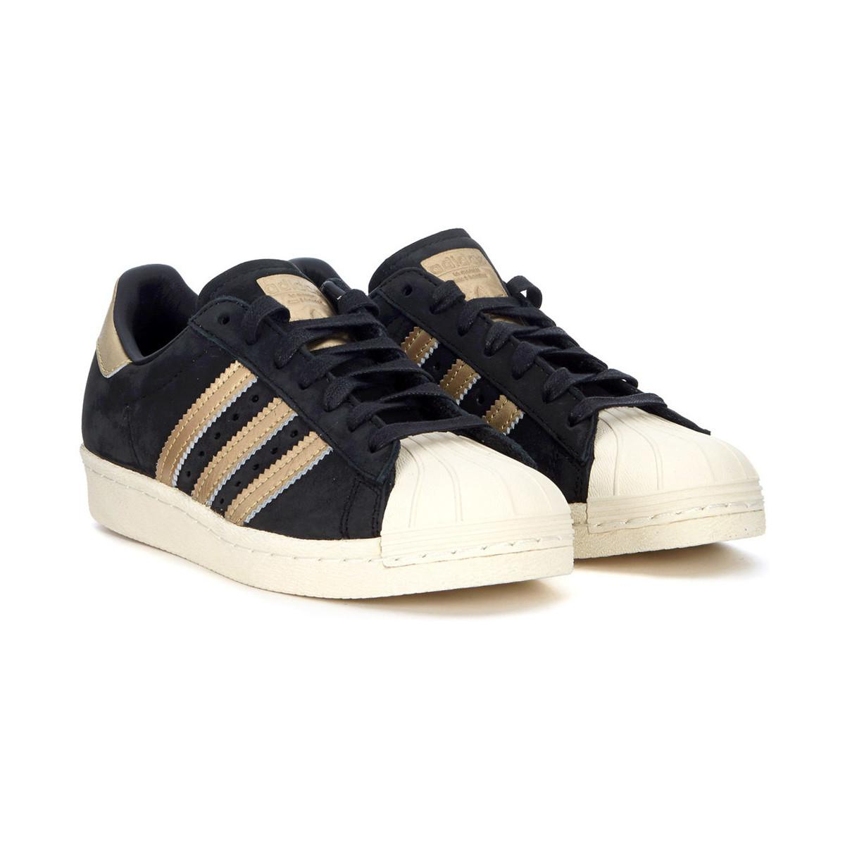 adidas Sneaker Model Superstar 80s In Black Nubuck And Golden Leaf Women's Shoes (trainers) In Black