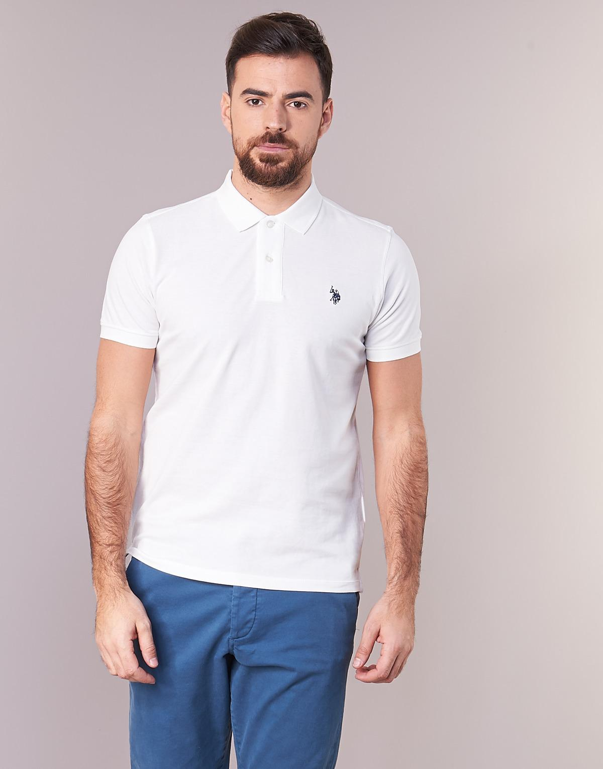 Us Polo Assn Institutional Polo Mens Polo Shirt In White In